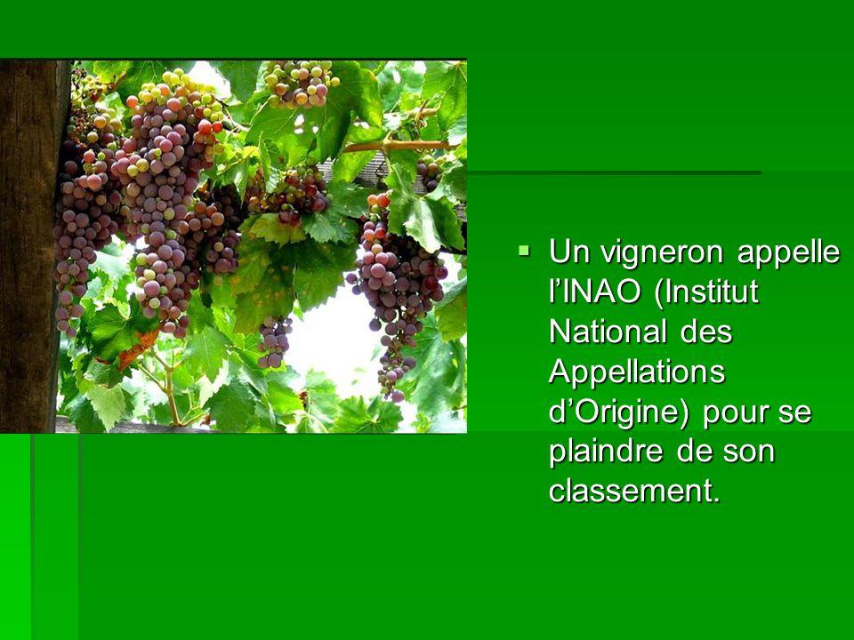 Un vigneron appelle lINAO (Institut National des Appellations dOrigine) pour se plaindre de son classement.