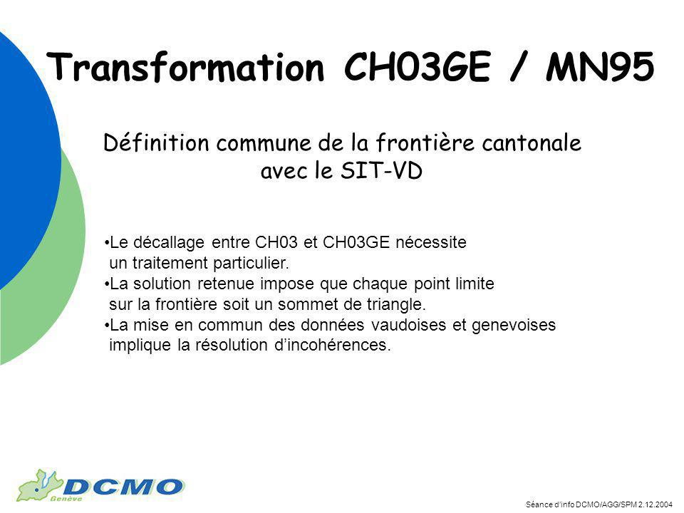 Séance dinfo DCMO/AGG/SPM 2.12.2004 Définition commune de la frontière cantonale avec le SIT-VD Le décallage entre CH03 et CH03GE nécessite un traitement particulier.