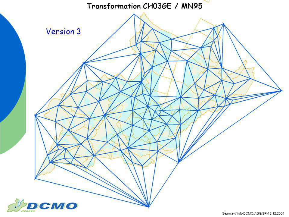 Séance dinfo DCMO/AGG/SPM 2.12.2004 Transformation CH03GE / MN95 Version 3