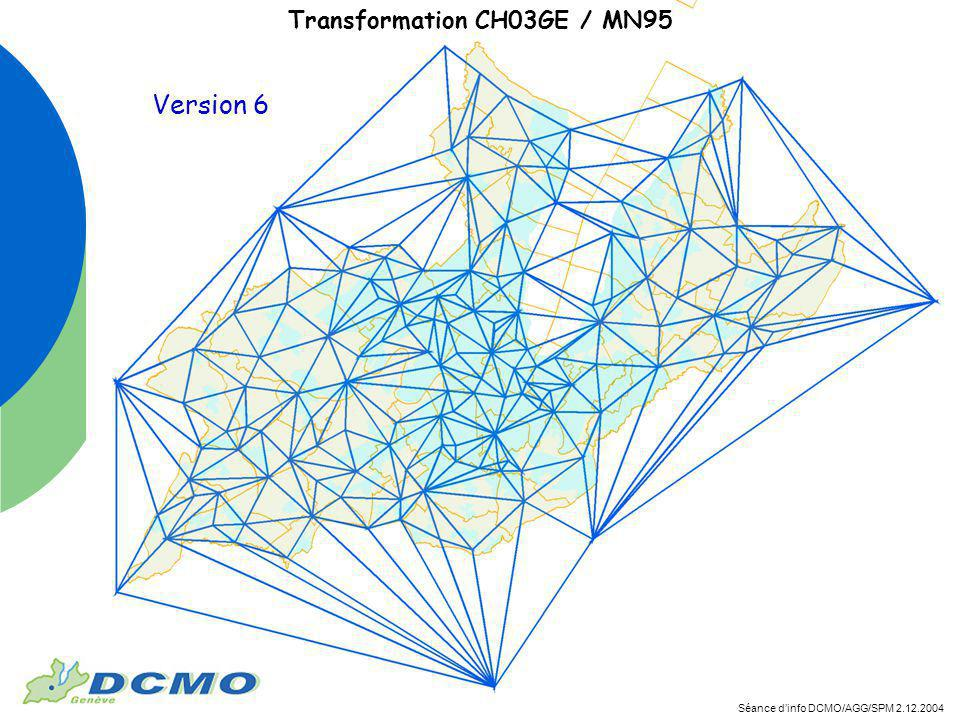 Séance dinfo DCMO/AGG/SPM 2.12.2004 Transformation CH03GE / MN95 Version 6
