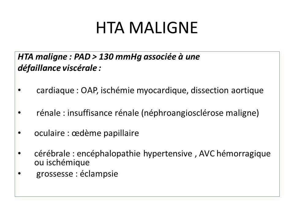 HTA MALIGNE HTA maligne : PAD > 130 mmHg associée à une défaillance viscérale : cardiaque : OAP, ischémie myocardique, dissection aortique rénale : in