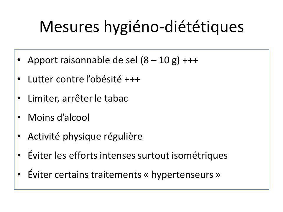 Mesures hygiéno-diététiques Apport raisonnable de sel (8 – 10 g) +++ Lutter contre lobésité +++ Limiter, arrêter le tabac Moins dalcool Activité physi