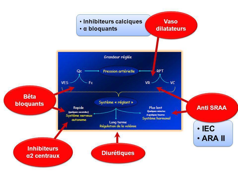 Inhibiteurs calciques α bloquants Inhibiteurs calciques α bloquants IEC ARA II IEC ARA II Bêta bloquants Diurétiques Anti SRAA Vaso dilatateurs Inhibi