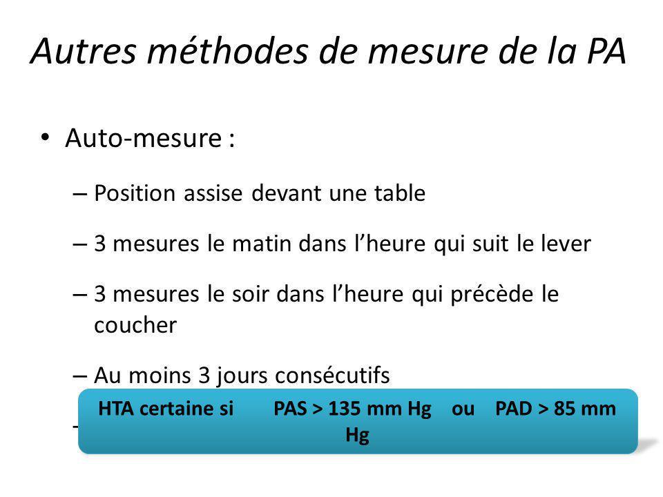 Auto-mesure : – Position assise devant une table – 3 mesures le matin dans lheure qui suit le lever – 3 mesures le soir dans lheure qui précède le cou