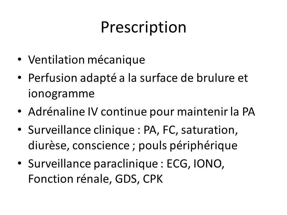 Prescription Ventilation mécanique Perfusion adapté a la surface de brulure et ionogramme Adrénaline IV continue pour maintenir la PA Surveillance cli