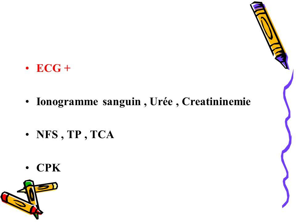 ECG + Ionogramme sanguin, Urée, Creatininemie NFS, TP, TCA CPK