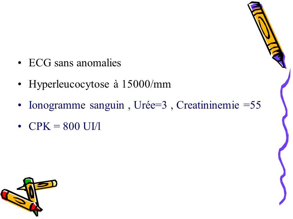 ECG sans anomalies Hyperleucocytose à 15000/mm Ionogramme sanguin, Urée=3, Creatininemie =55 CPK = 800 UI/l