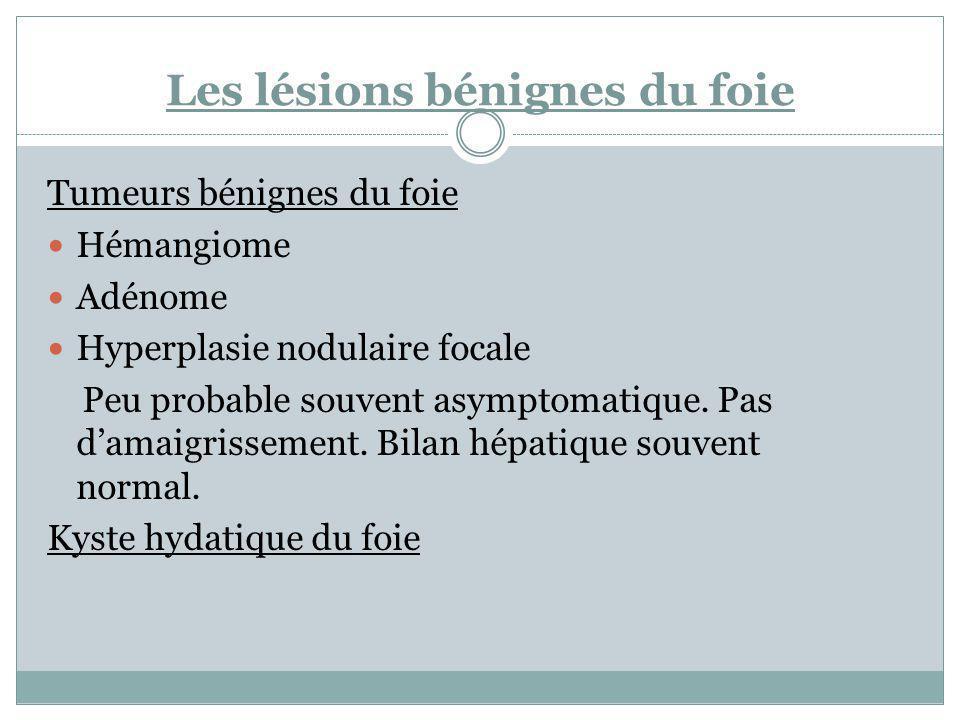Tumeurs bénignes du foie Hémangiome Adénome Hyperplasie nodulaire focale Peu probable souvent asymptomatique. Pas damaigrissement. Bilan hépatique sou