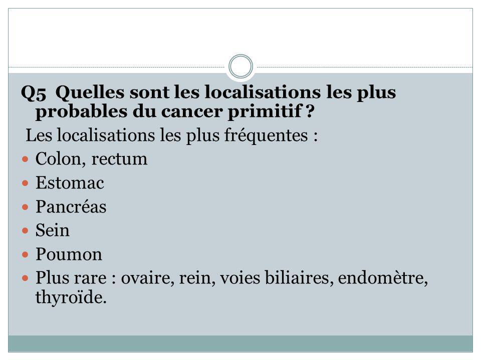 Q5 Quelles sont les localisations les plus probables du cancer primitif ? Les localisations les plus fréquentes : Colon, rectum Estomac Pancréas Sein