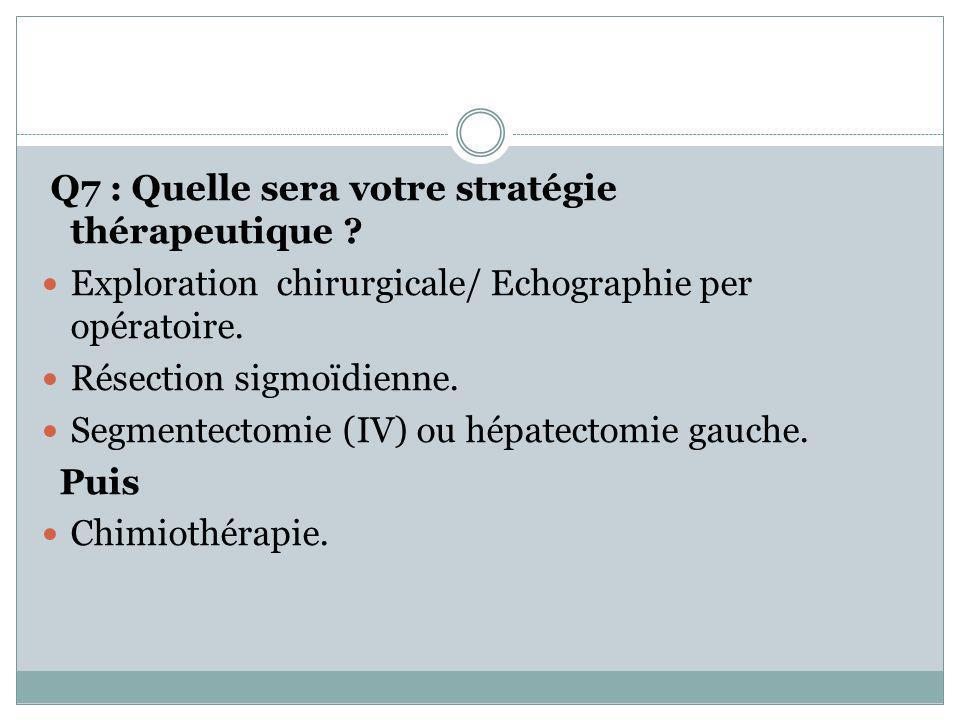 Q7 : Quelle sera votre stratégie thérapeutique ? Exploration chirurgicale/ Echographie per opératoire. Résection sigmoïdienne. Segmentectomie (IV) ou