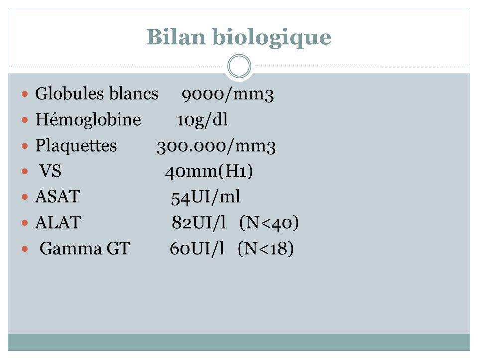 Bilan biologique Globules blancs 9000/mm3 Hémoglobine 10g/dl Plaquettes 300.000/mm3 VS 40mm(H1) ASAT 54UI/ml ALAT 82UI/l (N<40) Gamma GT 60UI/l (N<18)