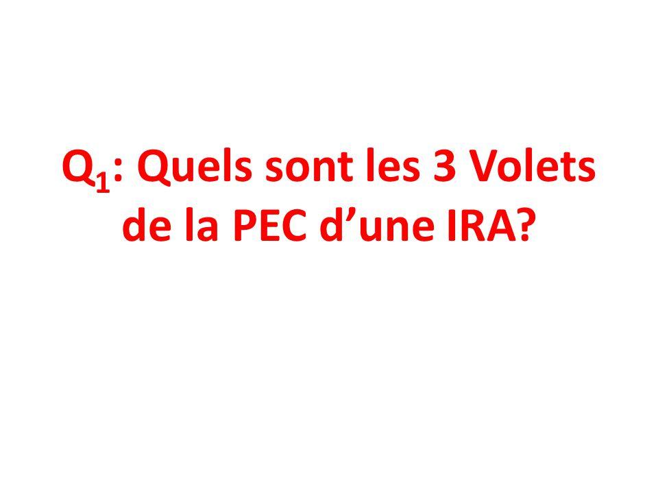 Q 1 : Quels sont les 3 Volets de la PEC dune IRA?