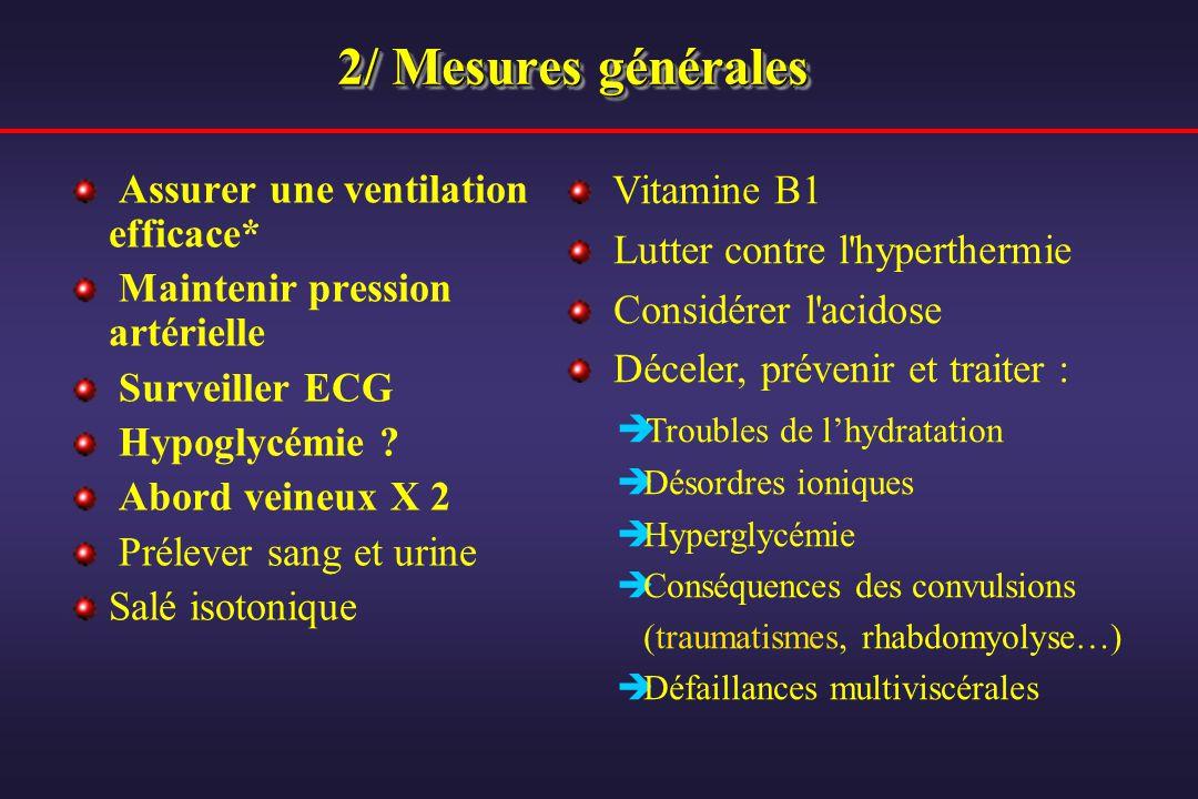 2/ Mesures générales Assurer une ventilation efficace* Maintenir pression artérielle Surveiller ECG Hypoglycémie ? Abord veineux X 2 Prélever sang et