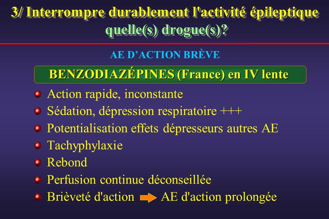 3/ Interrompre durablement l'activité épileptique quelle(s) drogue(s)? BENZODIAZÉPINES (France) en IV lente Action rapide, inconstante Sédation, dépre
