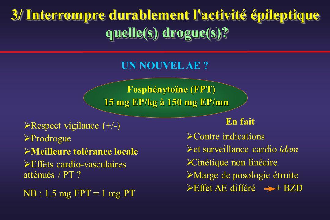 3/ Interrompre l'activité épileptique quelle(s) drogue(s)? 3/ Interrompre durablement l'activité épileptique quelle(s) drogue(s)? hénytoïne (FPT) Fosp
