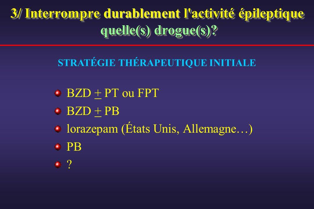 3/ Interrompre l'activité épileptique quelle(s) drogue(s)? 3/ Interrompre durablement l'activité épileptique quelle(s) drogue(s)? BZD + PT ou FPT BZD