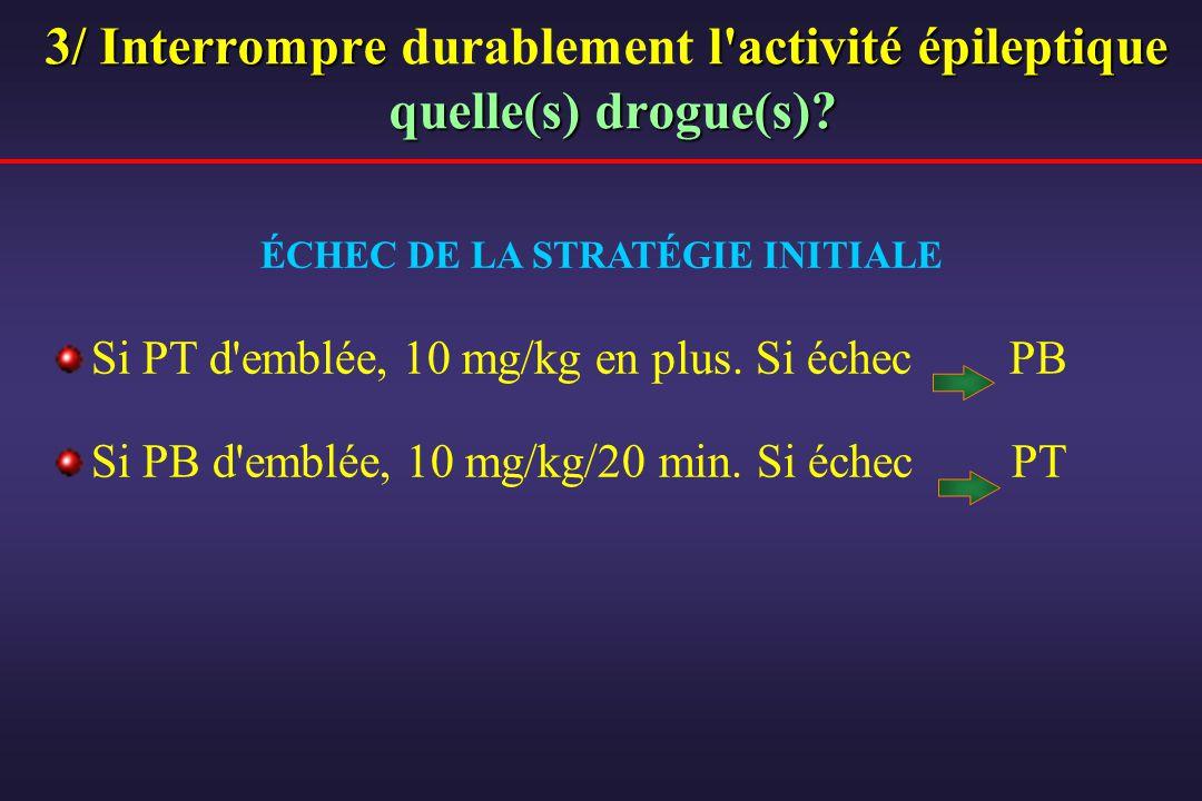3/ Interrompre l'activité épileptique quelle(s) drogue(s)? 3/ Interrompre durablement l'activité épileptique quelle(s) drogue(s)? Si PT d'emblée, 10 m