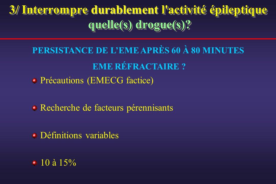 3/ Interrompre l'activité épileptique quelle(s) drogue(s)? 3/ Interrompre durablement l'activité épileptique quelle(s) drogue(s)? Précautions (EMECG f