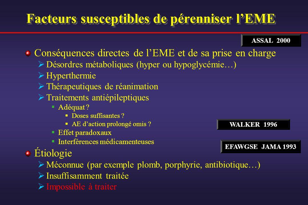Facteurs susceptibles de pérenniser lEME Conséquences directes de lEME et de sa prise en charge Désordres métaboliques (hyper ou hypoglycémie…) Hypert