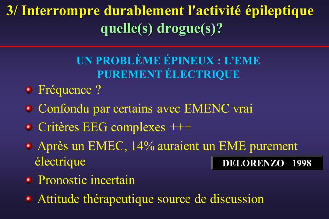 UN PROBLÈME ÉPINEUX : LEME PUREMENT ÉLECTRIQUE Fréquence ? Confondu par certains avec EMENC vrai Critères EEG complexes +++ Après un EMEC, 14% auraien