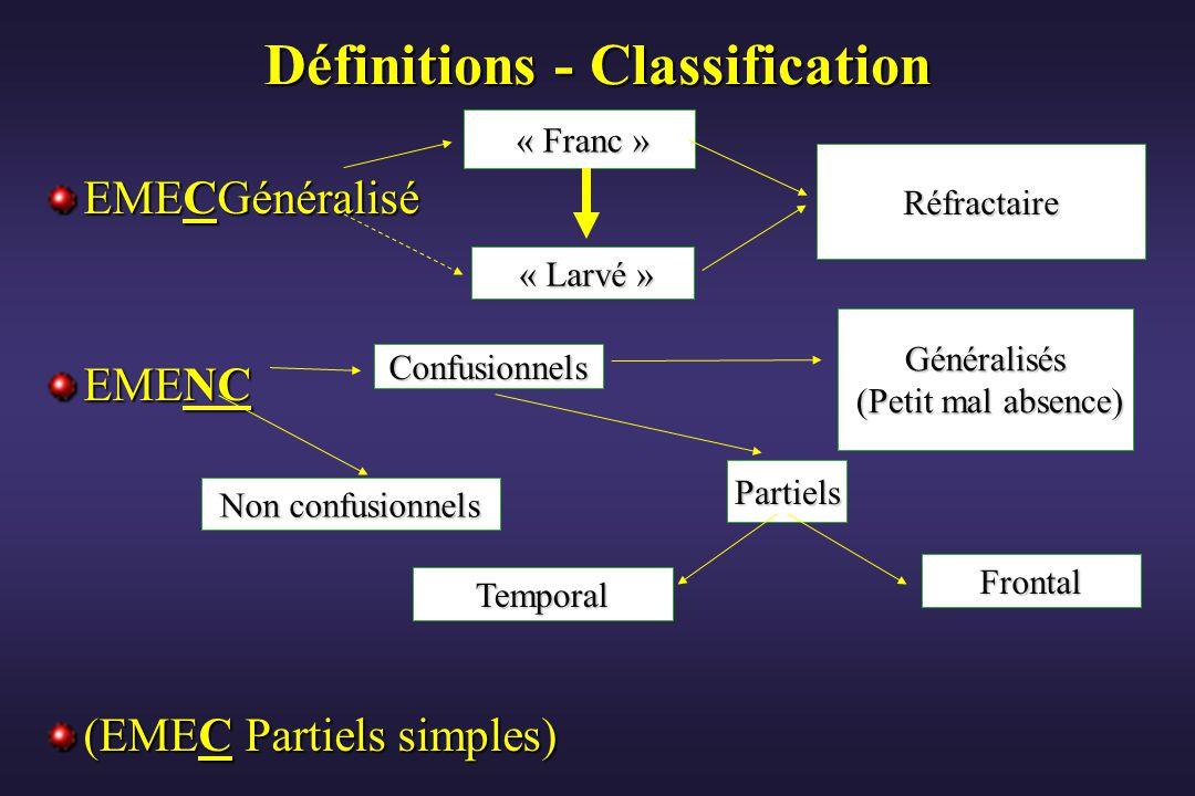 Définitions - Classification EMECGénéralisé EMENC (EMEC Partiels simples) « Franc » « Franc » « Larvé » « Larvé » Réfractaire Généralisés (Petit mal a