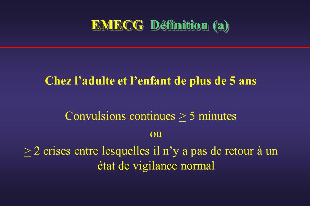 EMECG Définition (a) Chez ladulte et lenfant de plus de 5 ans Convulsions continues > 5 minutes ou > 2 crises entre lesquelles il ny a pas de retour à