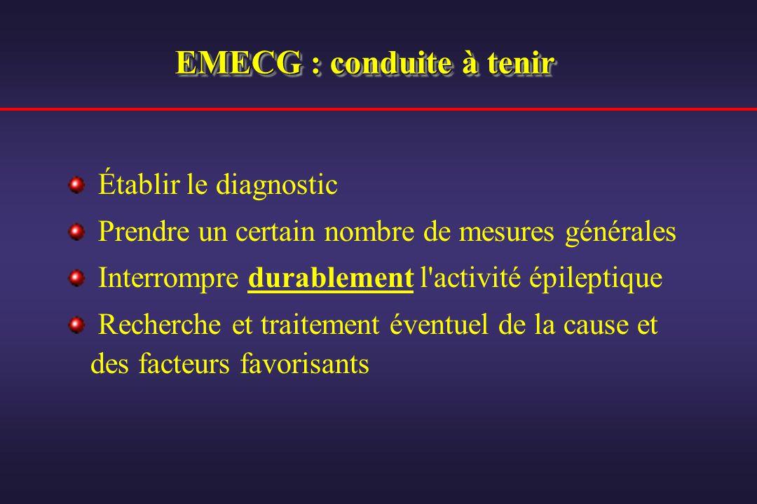 EMECG : conduite à tenir Établir le diagnostic Prendre un certain nombre de mesures générales Interrompre durablement l'activité épileptique Recherche