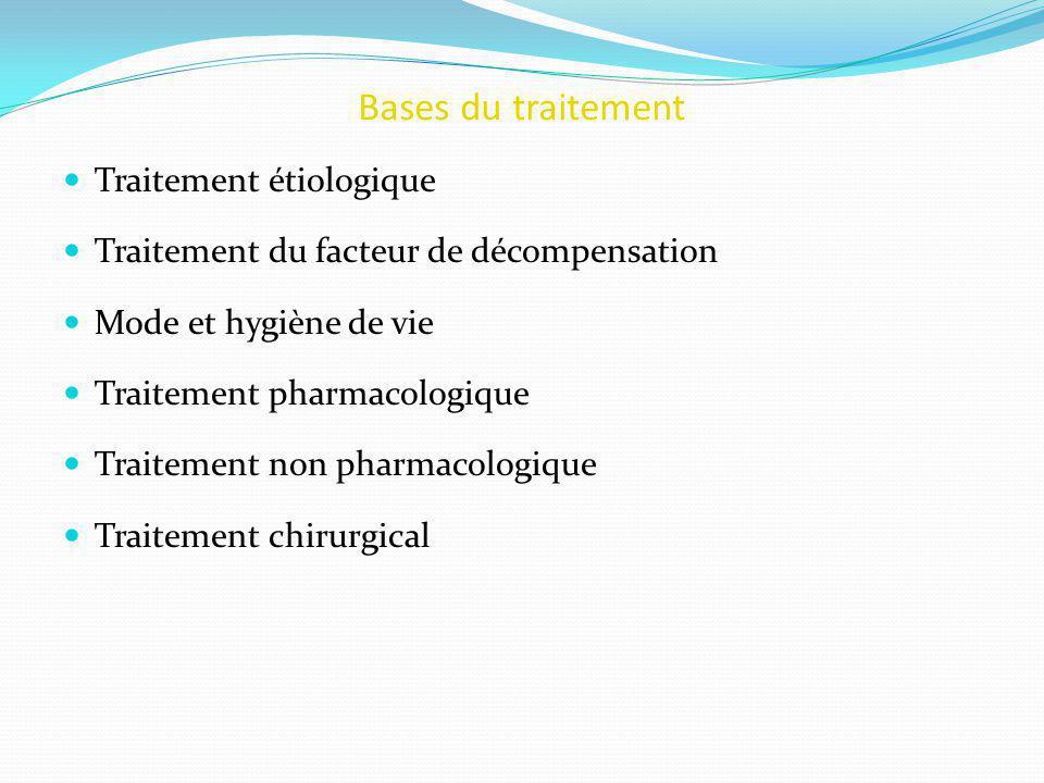 Bases du traitement Traitement étiologique Traitement du facteur de décompensation Mode et hygiène de vie Traitement pharmacologique Traitement non pharmacologique Traitement chirurgical