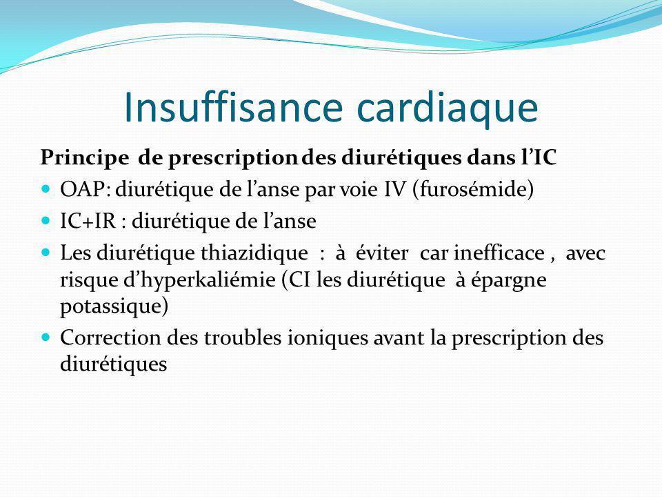 Insuffisance cardiaque Principe de prescription des diurétiques dans lIC OAP: diurétique de lanse par voie IV (furosémide) IC+IR : diurétique de lanse Les diurétique thiazidique : à éviter car inefficace, avec risque dhyperkaliémie (CI les diurétique à épargne potassique) Correction des troubles ioniques avant la prescription des diurétiques