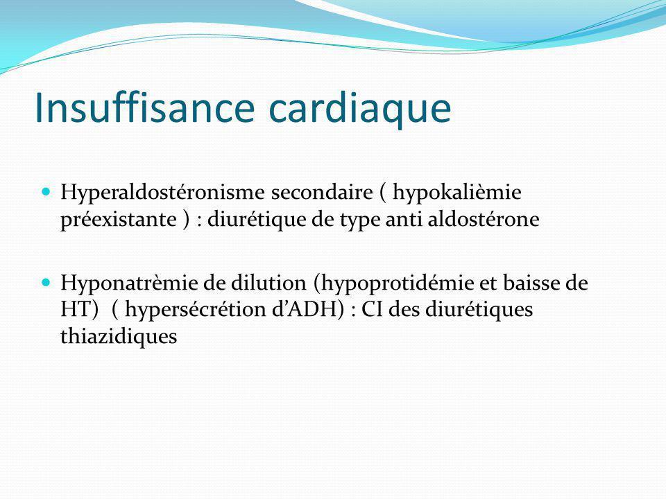 Insuffisance cardiaque Hyperaldostéronisme secondaire ( hypokalièmie préexistante ) : diurétique de type anti aldostérone Hyponatrèmie de dilution (hypoprotidémie et baisse de HT) ( hypersécrétion dADH) : CI des diurétiques thiazidiques