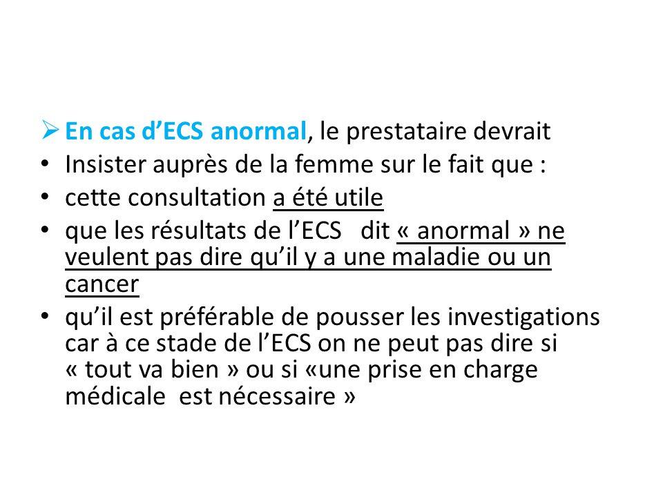 En cas dECS anormal, le prestataire devrait Insister auprès de la femme sur le fait que : cette consultation a été utile que les résultats de lECS dit