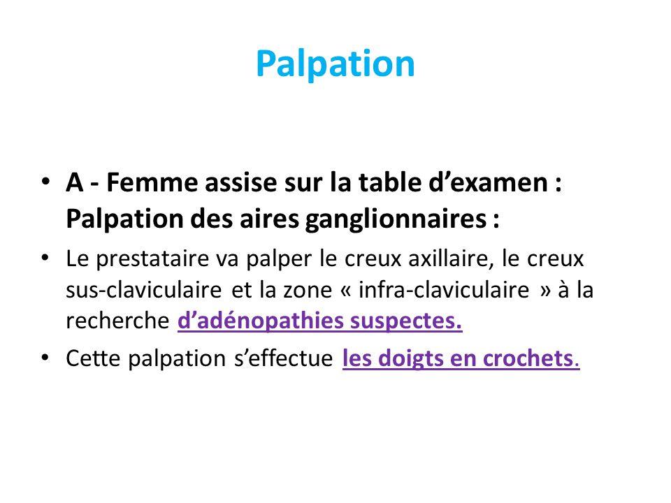 Palpation A - Femme assise sur la table dexamen : Palpation des aires ganglionnaires : Le prestataire va palper le creux axillaire, le creux sus-clavi