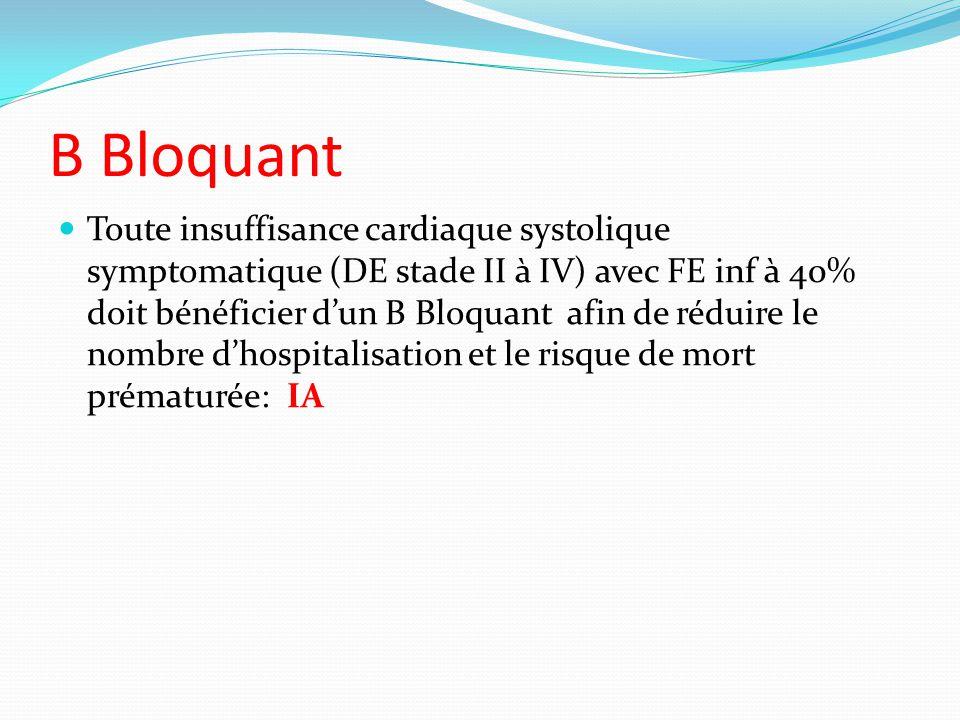 B Bloquant Toute insuffisance cardiaque systolique symptomatique (DE stade II à IV) avec FE inf à 40% doit bénéficier dun B Bloquant afin de réduire le nombre dhospitalisation et le risque de mort prématurée: IA
