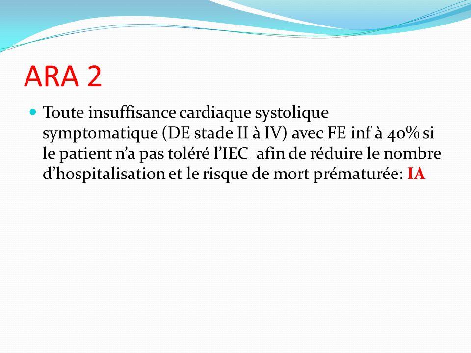 ARA 2 Toute insuffisance cardiaque systolique symptomatique (DE stade II à IV) avec FE inf à 40% si le patient na pas toléré lIEC afin de réduire le nombre dhospitalisation et le risque de mort prématurée: IA