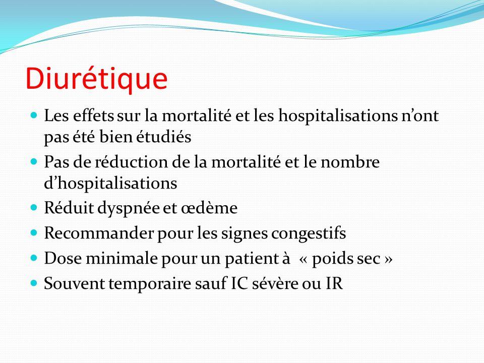 Diurétique Les effets sur la mortalité et les hospitalisations nont pas été bien étudiés Pas de réduction de la mortalité et le nombre dhospitalisatio