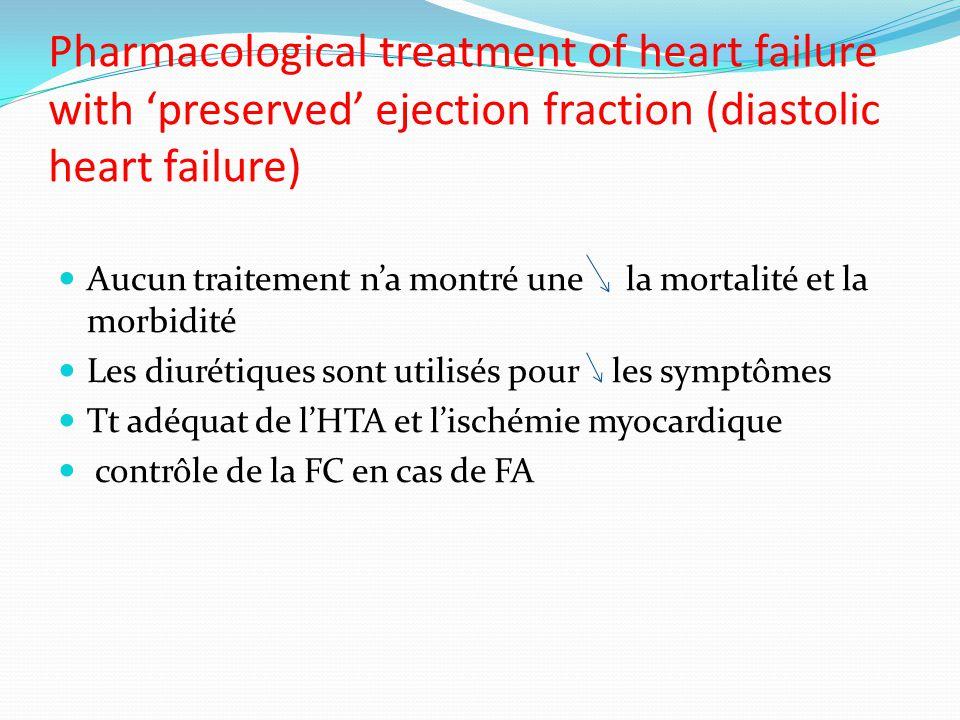 Pharmacological treatment of heart failure with preserved ejection fraction (diastolic heart failure) Aucun traitement na montré une la mortalité et la morbidité Les diurétiques sont utilisés pour les symptômes Tt adéquat de lHTA et lischémie myocardique contrôle de la FC en cas de FA