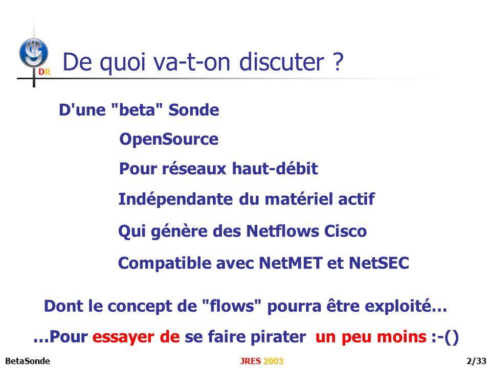 DRDRDRDR JRES 2003BetaSonde3/33 NetMET NetSEC Netflows Cisco Réseau En Étoile Routeur d entrée de site Dans quel contexte .
