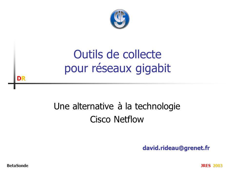 DRDRDRDR BetaSonde JRES 2003 Outils de collecte pour réseaux gigabit Une alternative à la technologie Cisco Netflow david.rideau@grenet.fr