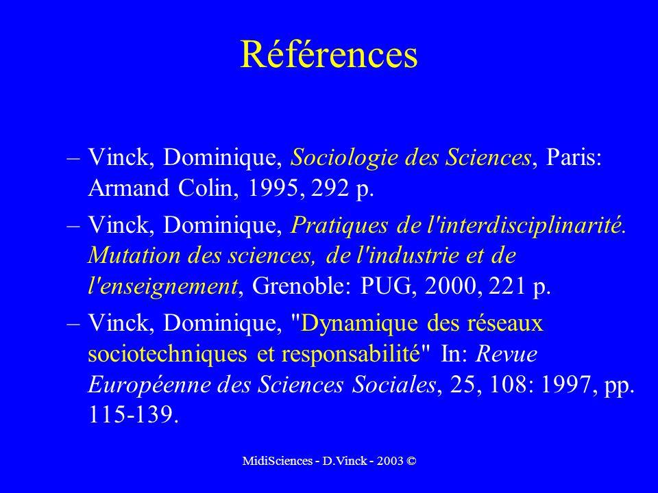 MidiSciences - D.Vinck - 2003 © Références –Vinck, Dominique, Sociologie des Sciences, Paris: Armand Colin, 1995, 292 p.