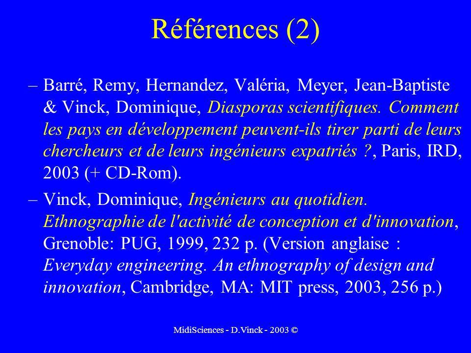 MidiSciences - D.Vinck - 2003 © Références (2) –Barré, Remy, Hernandez, Valéria, Meyer, Jean-Baptiste & Vinck, Dominique, Diasporas scientifiques.