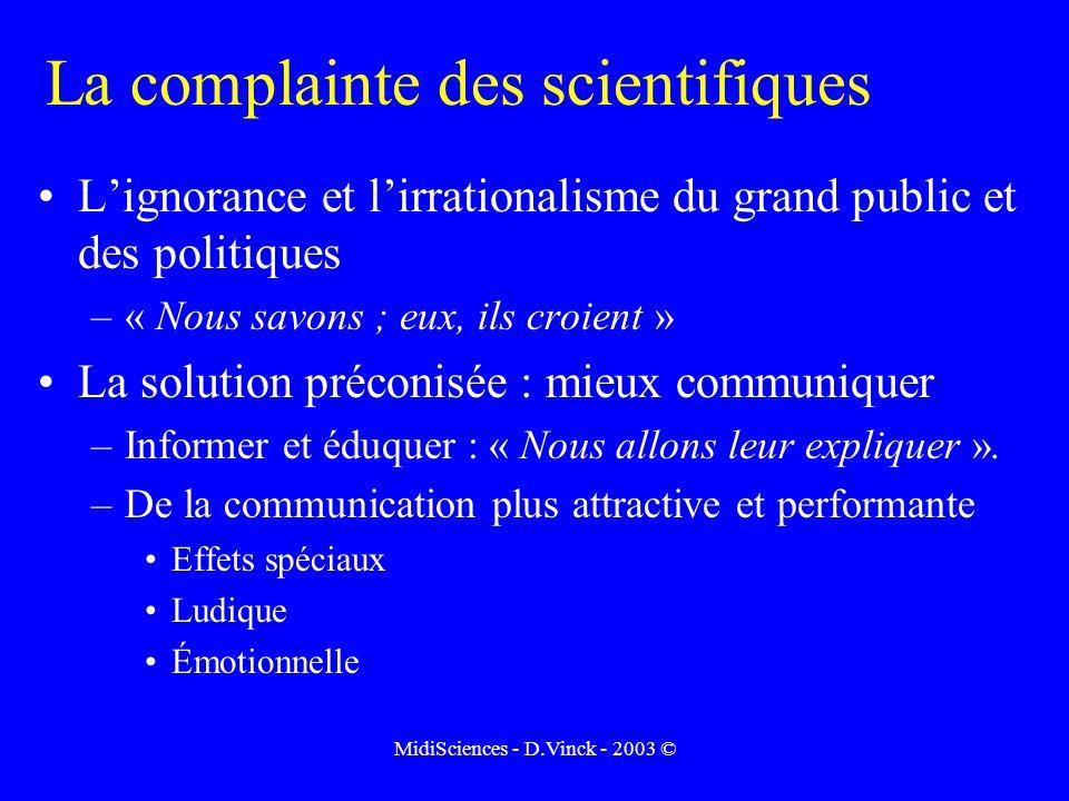 MidiSciences - D.Vinck - 2003 © La complainte des scientifiques Lignorance et lirrationalisme du grand public et des politiques –« Nous savons ; eux, ils croient » La solution préconisée : mieux communiquer –Informer et éduquer : « Nous allons leur expliquer ».
