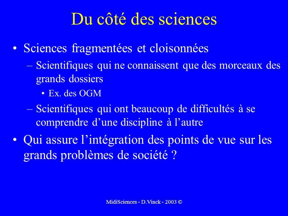MidiSciences - D.Vinck - 2003 © Du côté des sciences Sciences fragmentées et cloisonnées –Scientifiques qui ne connaissent que des morceaux des grands dossiers Ex.