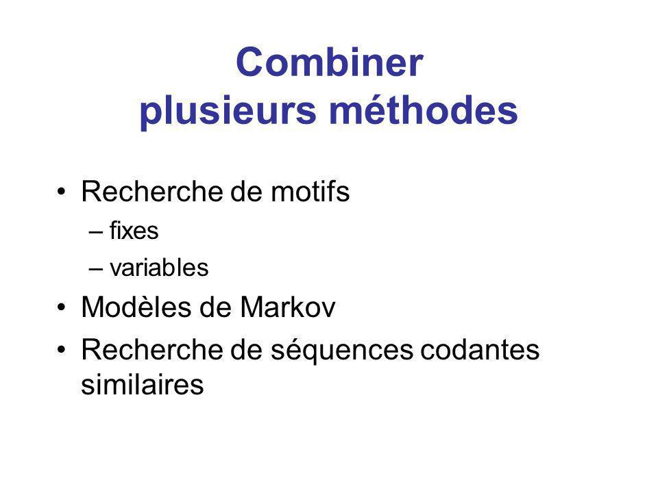 Combiner plusieurs méthodes Recherche de motifs –fixes –variables Modèles de Markov Recherche de séquences codantes similaires