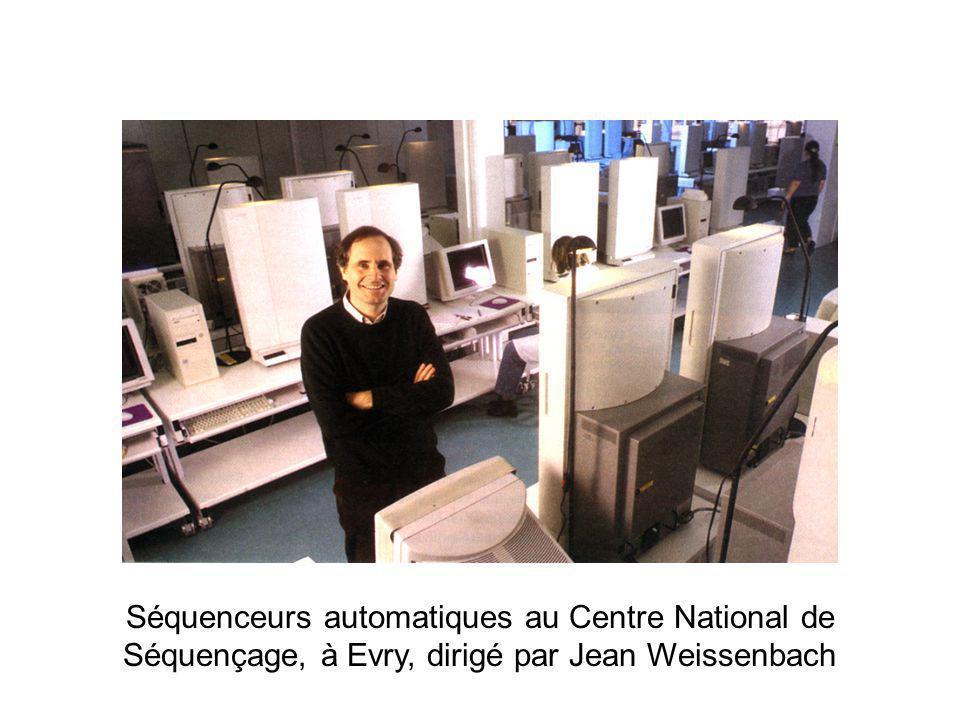 Séquenceurs automatiques au Centre National de Séquençage, à Evry, dirigé par Jean Weissenbach