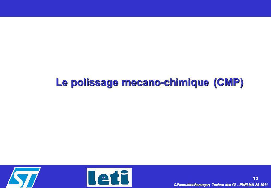 13 C.Fenouillet-Beranger; Techno des CI – PHELMA 2A 2011 Le polissage mecano-chimique (CMP)