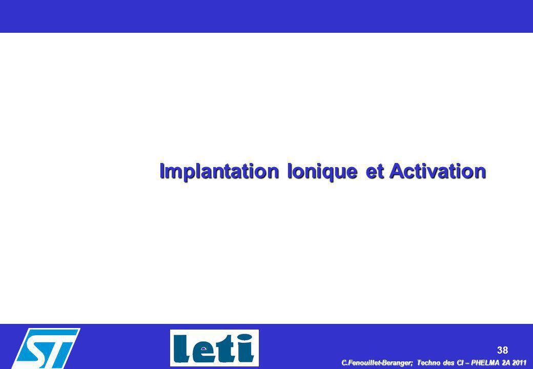 38 C.Fenouillet-Beranger; Techno des CI – PHELMA 2A 2011 Implantation Ionique et Activation