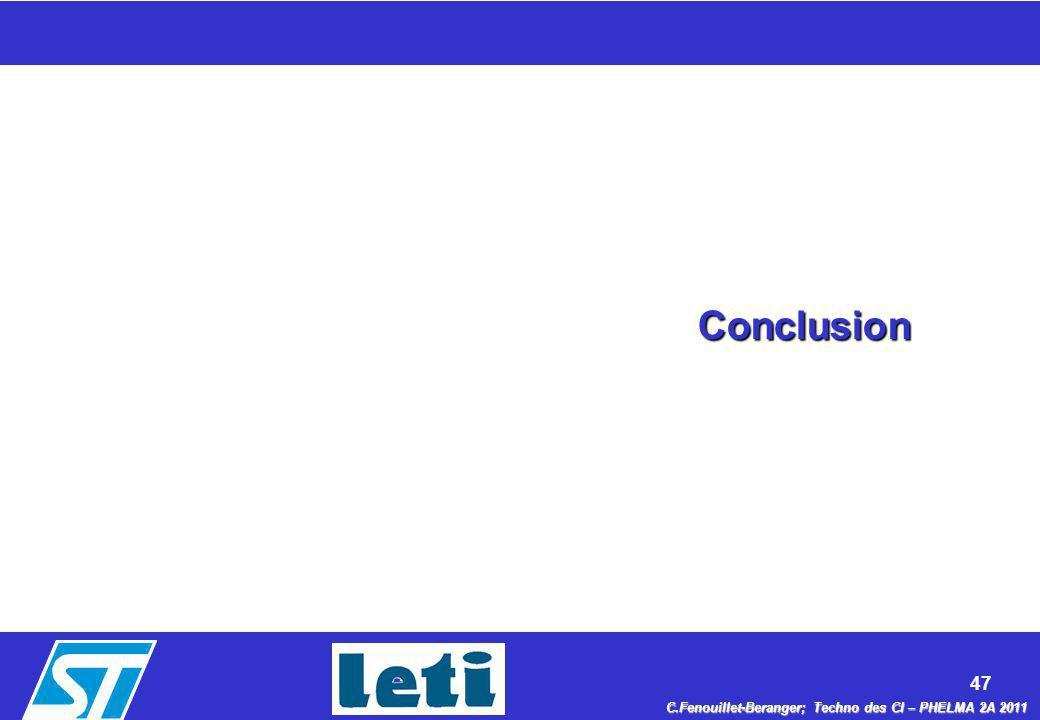 47 C.Fenouillet-Beranger; Techno des CI – PHELMA 2A 2011 Conclusion