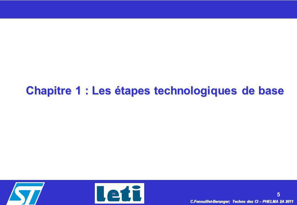 5 C.Fenouillet-Beranger; Techno des CI – PHELMA 2A 2011 Chapitre 1 : Les étapes technologiques de base