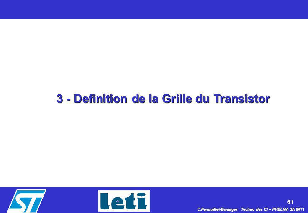 61 C.Fenouillet-Beranger; Techno des CI – PHELMA 2A 2011 3 - Definition de la Grille du Transistor