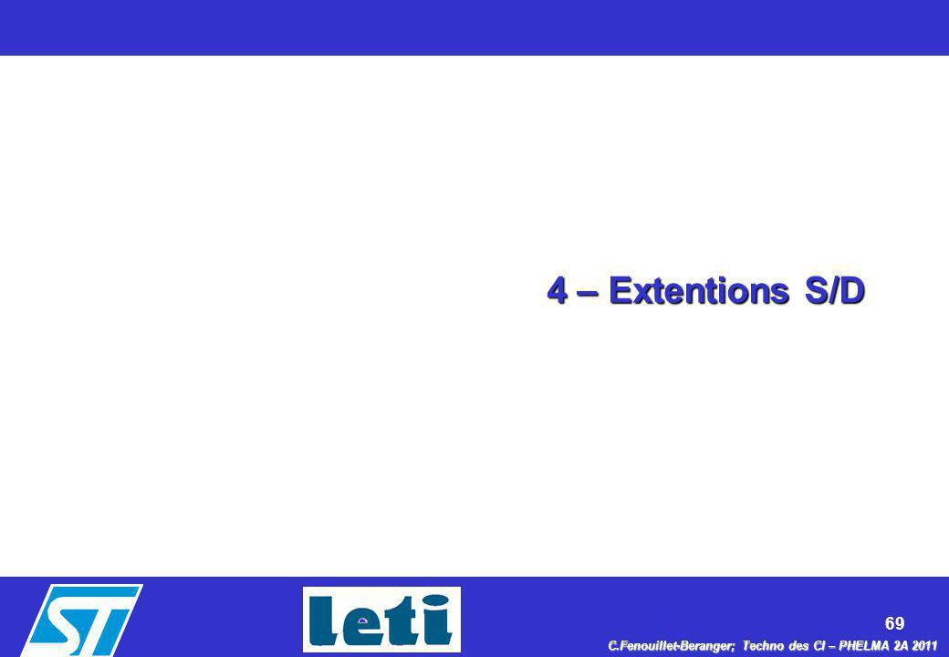 69 C.Fenouillet-Beranger; Techno des CI – PHELMA 2A 2011 4 – Extentions S/D